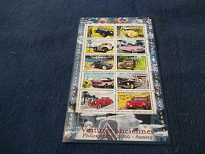 Timbres Philexjeunes 2000 Annecy Voitures anciennes