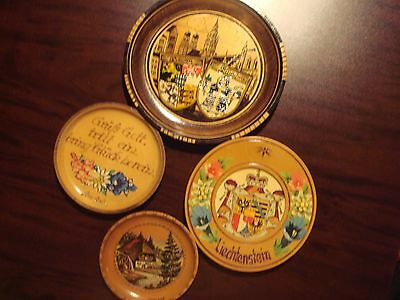 4 Vintage German Crafted Decorated Wooden Plates