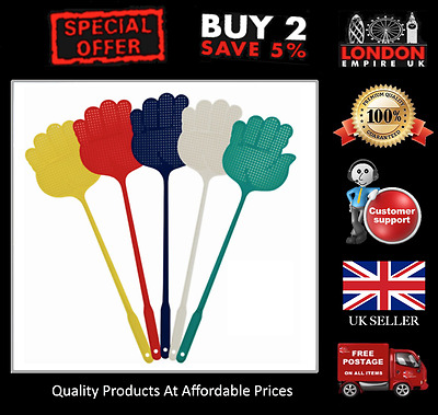 5 x Fly Swatter Multi Coloured Fly Insect Killer Swatter Fun Indoor Outdoor NEW