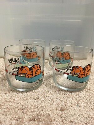 Four 1978 Garfield Slurp Glasses
