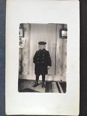 Vintage RPPC Real Photo Postcard C.1910 Young Boy In School Outfit