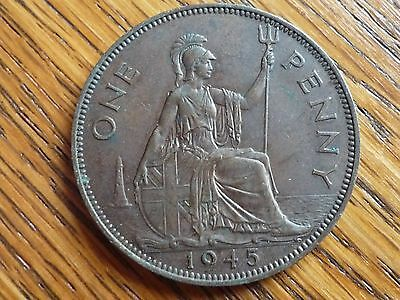 1945 Lovely Example Of George VI  One Penny Coin 1d WWII