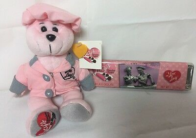 """Limited Edition """"I Love Lucy"""" Chocolate Factory Pink Teddy Bear & Chocolate Bar!"""