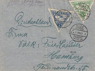 Great Latvia Airmail Cover with 1921 Air Stamps (Riga to Hamburg)