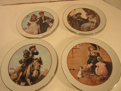 "VINTAGE NORMAN ROCKWELL 1982 ""Young Love Series"" (4) PLATES"