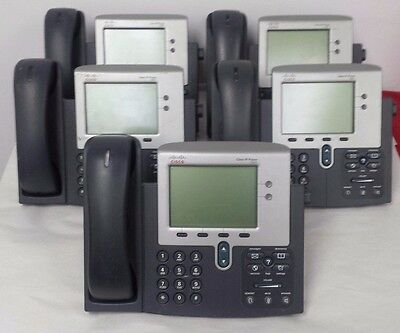 Lot of 5 Cisco CP-7941G Unified IP Phones w/Headsets