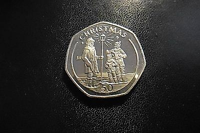 Gibraltar 1991 Christmas Carollers Fifty Pence Coin FREE INTERNATIONAL SHIPPING