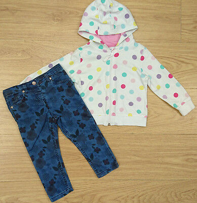 Next Nutmeg Baby Girls Bundle Age 18-24 Months Cardigan Jeans