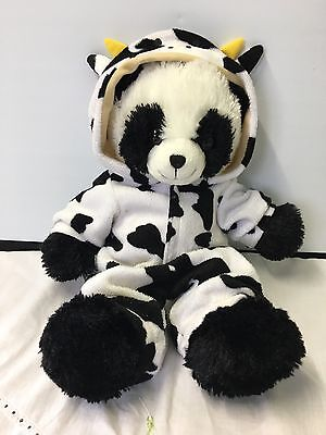 CHAD VALLEY DESIGN A BEAR Black & WHITE TEDDY BEAR SOFT TOY WITH COW SUIT