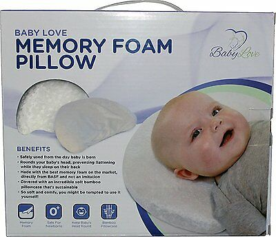 Baby Head Shaping Memory Foam Pillow & Bamboo Pillowcase. Luxury Baby Shower...