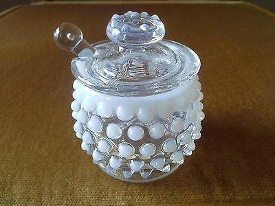 Vintage Fenton White Milk Glass & Clear Glass Hobnail  Jam Dish with Spreader