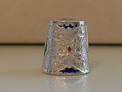 Lovely Glittery Silver Thimble with Nice Blue, Green & Red Enamel Decoration