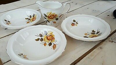 regency bone china milk jug & 3x bowls in yellow rose pattern excellent cond