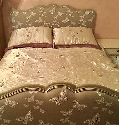 GENUINE FRENCH DOUBLE BED PROFESSIONALLY PAINTED AND UPHOLSTERED..inc Mattress..