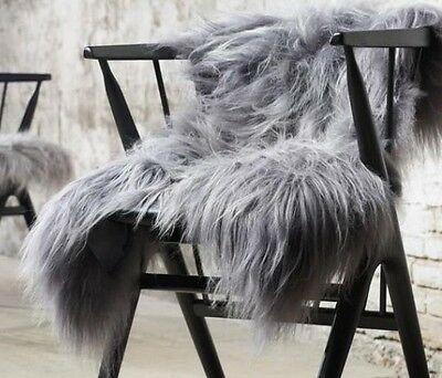 GENUINE NATURAL COLOUR GREY ® ICELANDIC sheepskin rug 110cm x 70cm