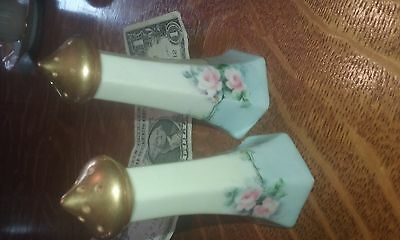antique signed Moser?  china salt pepper limoge??