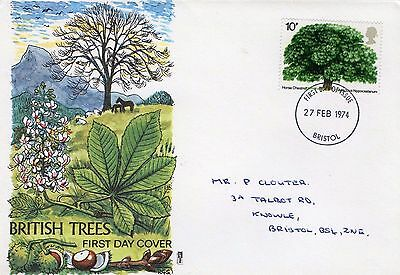 1974 British Trees With Bristol Cds Philart Fdc From Collection G14