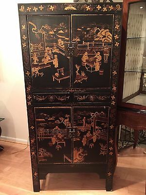 antique style 4-Door Oriental  Hand Painted Cabinet with 2 Drawers