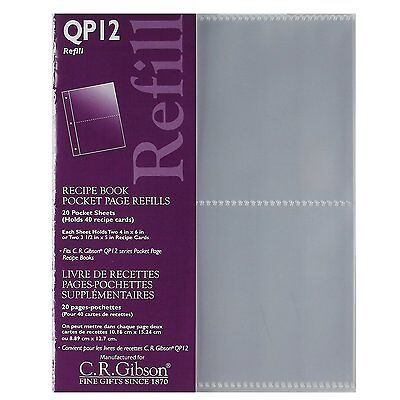 C.R. Gibson E7 Pocket Page Refill Sheets For QP12 Pocket Page Recipe Book – QP12