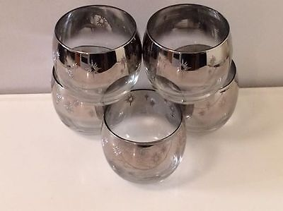 set of 5 Dorothy Thorpe style starbust mid sized glass tumblers