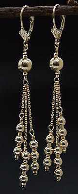 #BE180 New 14K Solid Yellow Gold Round Triple Bead Drop/Dangle Earrings