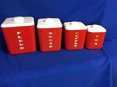 Vintage Lustro Ware 1950 4 Pc Canister Set Red White Movie Prop Collect Display