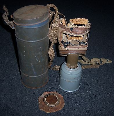 FRENCH WW2 - TC-38 ARMY GAS MASK, & Metal Case. Dated 1939