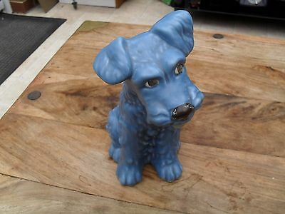 "sylvac  blue dog 1379 8"" tall sitting terrier dog vintage pottery"