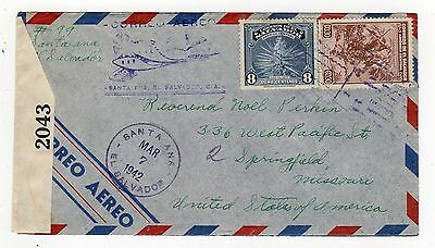 El Salvador: 1942 Censored Airmail Cover To Usa (T320)