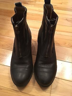 EUC Ariat Equestrian Riding Paddock boots black leather zip size 8.5