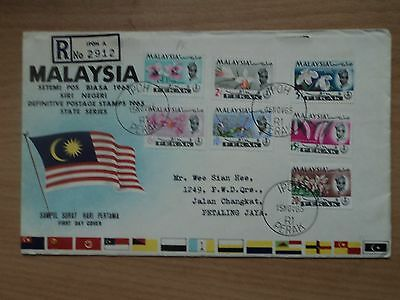 Malaysia Perak 1965 15 Nov Flowers Orchid definitive Low Values FDC