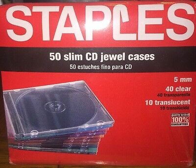 50 count - 5 mm Slim CD Jewel Cases 40 Clear, 10 Translucent New Sealed CD DVD