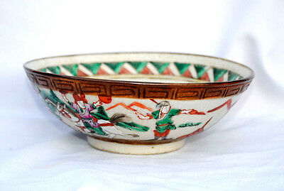 19Thc Chinese Crackle Porcelain Bowl Painted Figures Warriors On Horseback