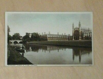 Cambridge ..kings And Clare  Colleges . Vintage Postcard