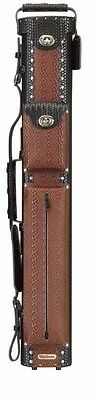 Vincitore 2x4 Black/Brown Leather Pool Cue Case w/ FREE Shipping