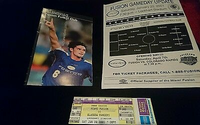 RARE 2001 friendly Miami fusion v Rangers roster and ticket
