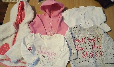 Girls bundle of jumpers cardigan and fleece jacket aged 6/9 months