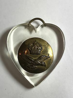 WW I Trench Art Perspex Heart Pendant Fob Charm Brass Button Inset 1914-18