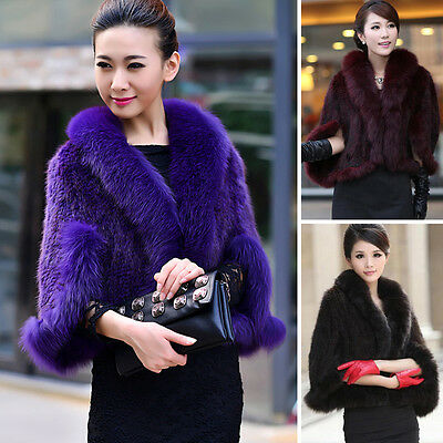 Women's Real Farm Mink Fur Fox Fur Poncho Stole Perfect Coming Cape Scarf Shawl
