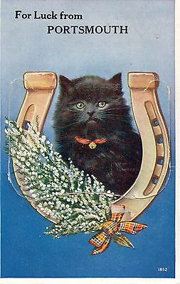 Antique Novelty Mailing Pullout Postcard A Black Cat For Luck From Portsmouth
