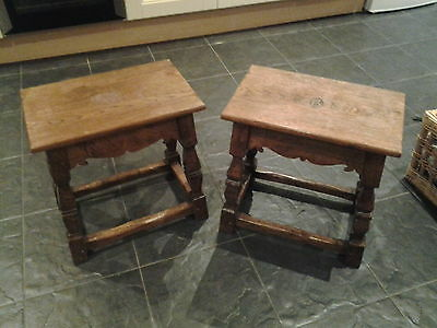 antique oak pair of jointed stools coffin stools with initials