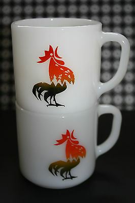 2 Vintage Federal Milkglass Rooster Stacking Mugs