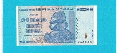 100 TRILLION $ *AA* 2008 AU/UNC World's largest CURRENCY Bill :zimbawabe