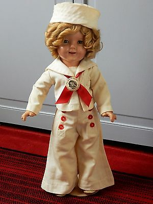 "1930's composition 18"" Shirley Temple Rare white Captain January dress outfit"