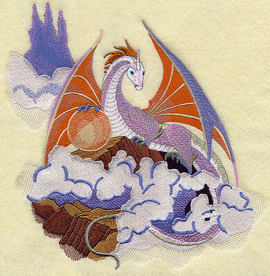 Embroidered Dragon quilt block, fabric,cushion panel,fantasy,cloud,sky,fire,art