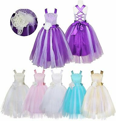 Flower Girl Formal Dress Straps Princess Wedding Bridesmaid Pageant Party Gown