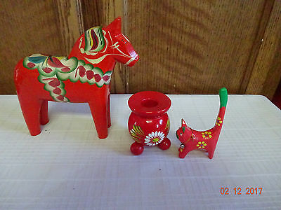Sweden Dala Horse Wooden W/candleholder And Cat Jamaica