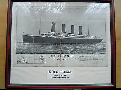 White Star Line 'Titanic' Print From Boston 1912 Large Framed With Brief Story!