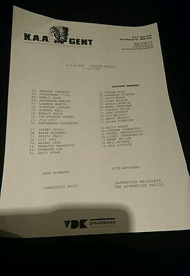Rare 2000 friendly teamsheet Gent v Rangers