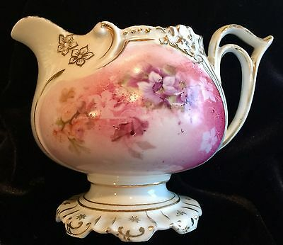 RS Prussia Pedestal Footed Porcelain China Creamer Pink Violets Pansy Mold GOLD